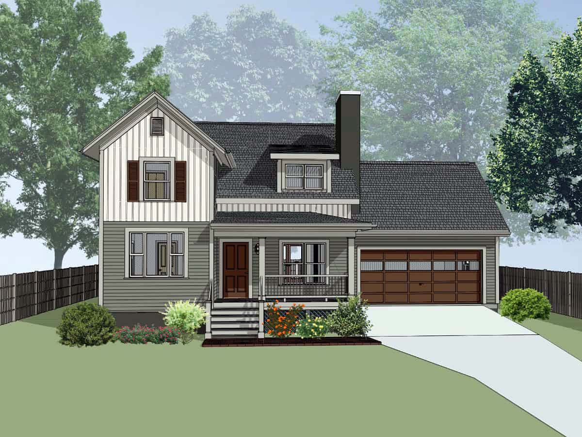 Bungalow, Colonial, Traditional House Plan 75559 with 4 Beds, 2 Baths, 2 Car Garage Elevation