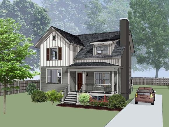 Bungalow, Colonial, Traditional House Plan 75565 with 4 Beds, 2 Baths Elevation