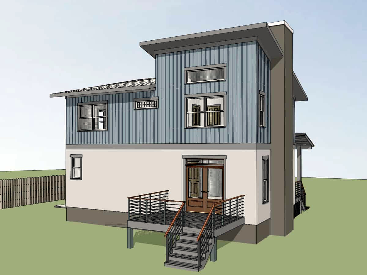 Bungalow, Contemporary, Modern House Plan 75567 with 3 Beds, 3 Baths Rear Elevation