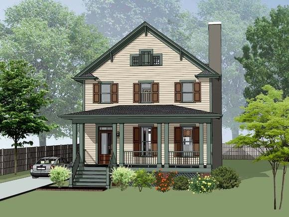 Colonial, Country, Narrow Lot, Southern House Plan 75588 with 3 Beds, 3 Baths Elevation