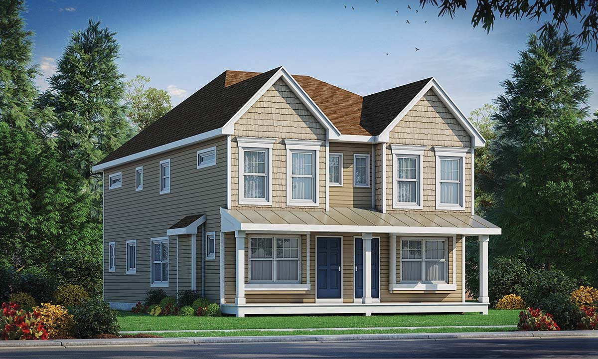 Narrow Lot, Southern, Traditional Multi-Family Plan 75713 with 4 Beds, 6 Baths Elevation