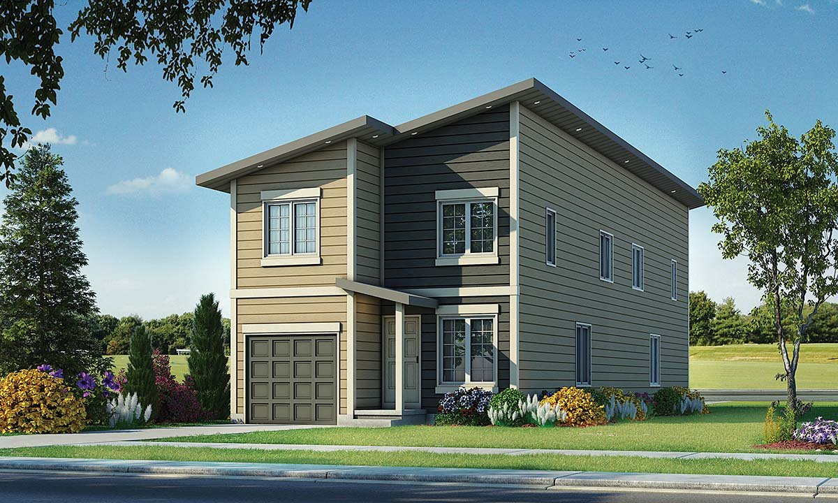 Contemporary Multi-Family Plan 75732 with 3 Beds, 3 Baths, 1 Car Garage Elevation
