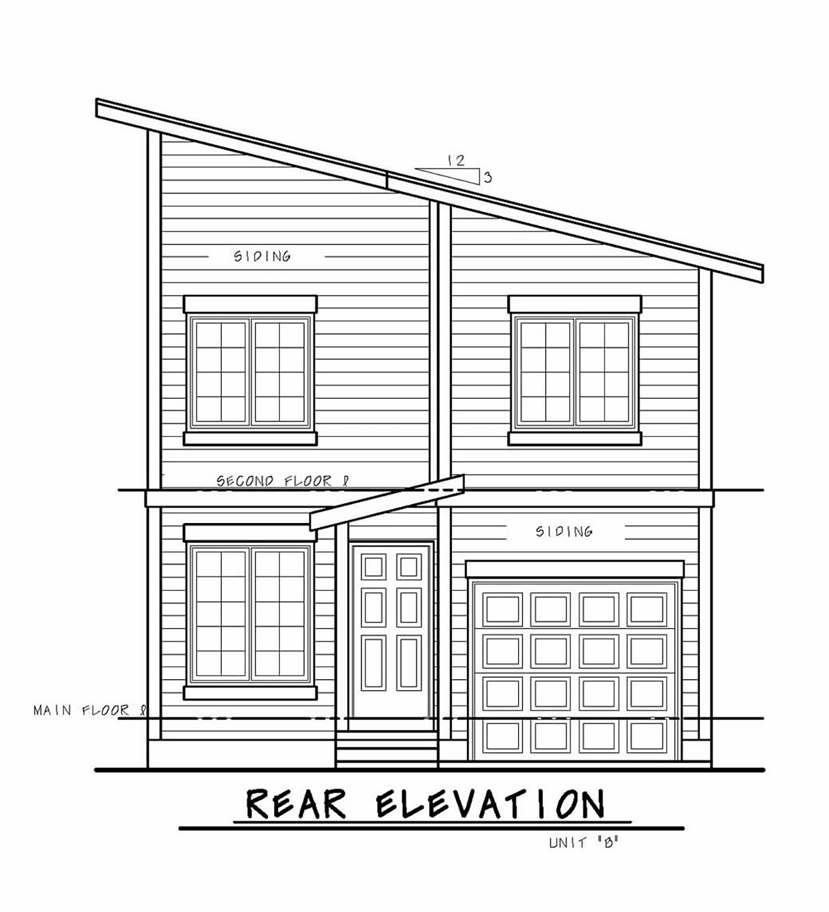 Contemporary Multi-Family Plan 75732 with 3 Beds, 3 Baths, 1 Car Garage Rear Elevation