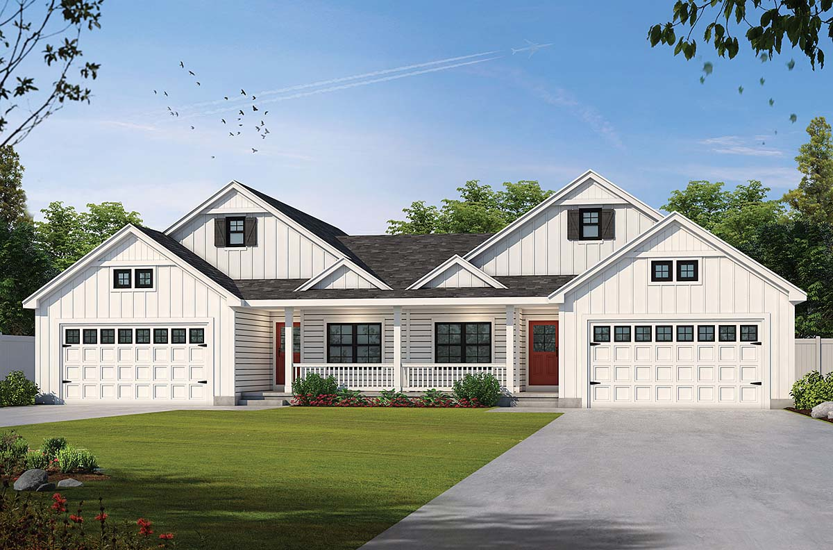 Farmhouse Multi-Family Plan 75747 with 2 Beds, 2 Baths, 2 Car Garage Elevation