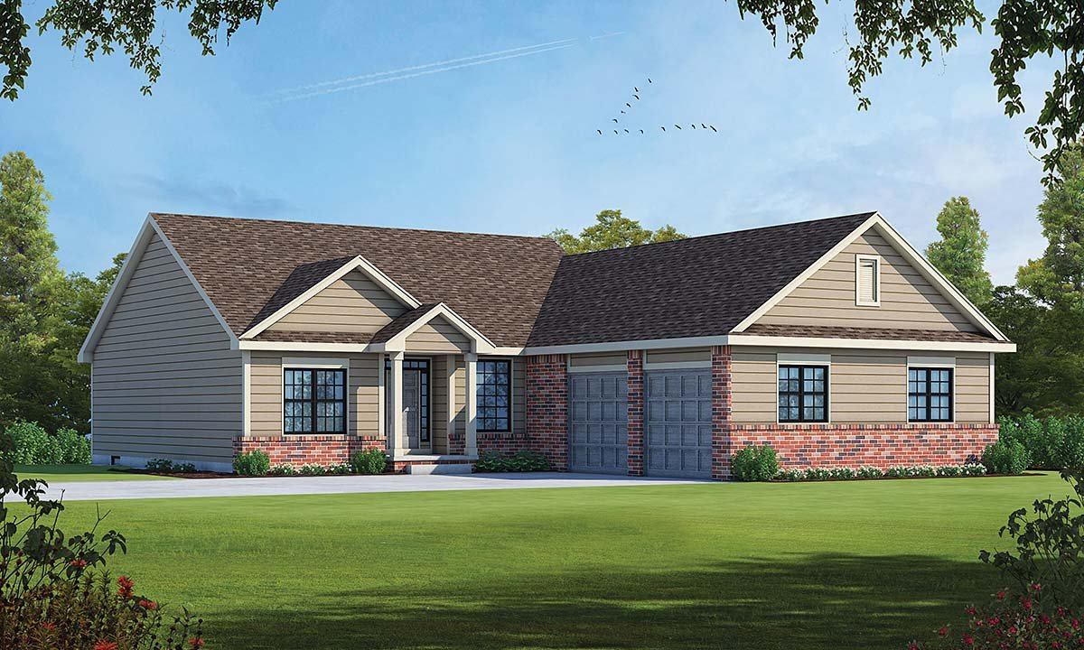Traditional House Plan 75752 with 3 Beds, 2 Baths, 2 Car Garage Elevation