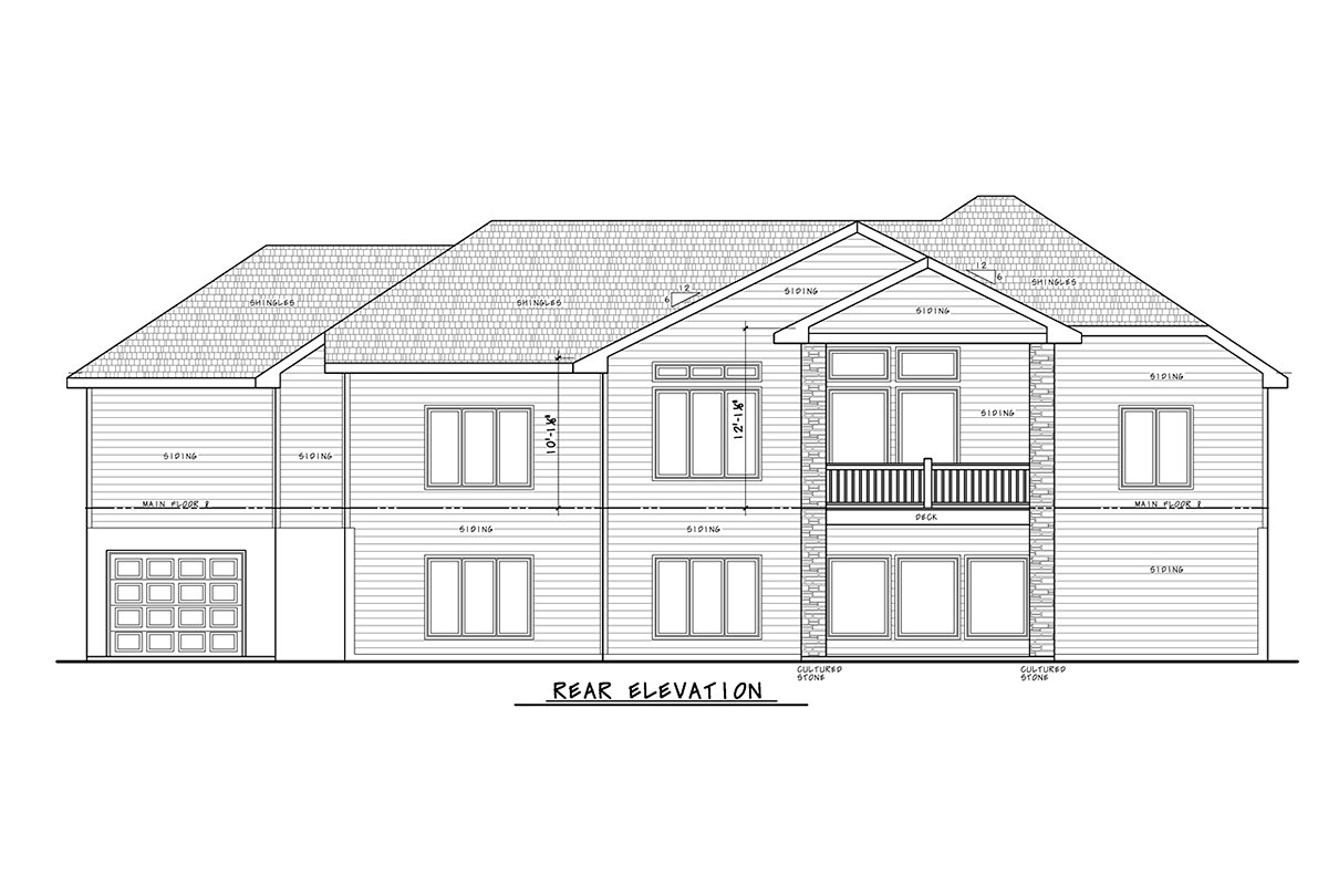 Craftsman, Traditional House Plan 75753 with 4 Beds, 4 Baths, 3 Car Garage Rear Elevation