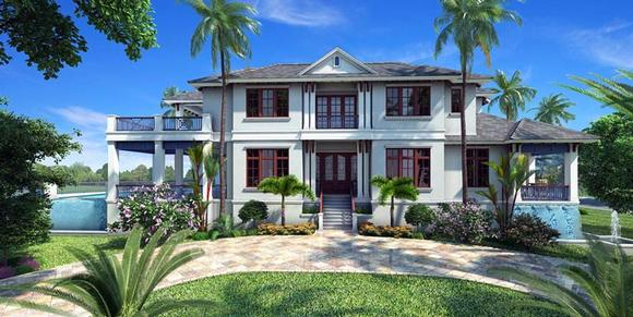 Florida, Mediterranean House Plan 75911 with 5 Beds, 6 Baths, 3 Car Garage Elevation