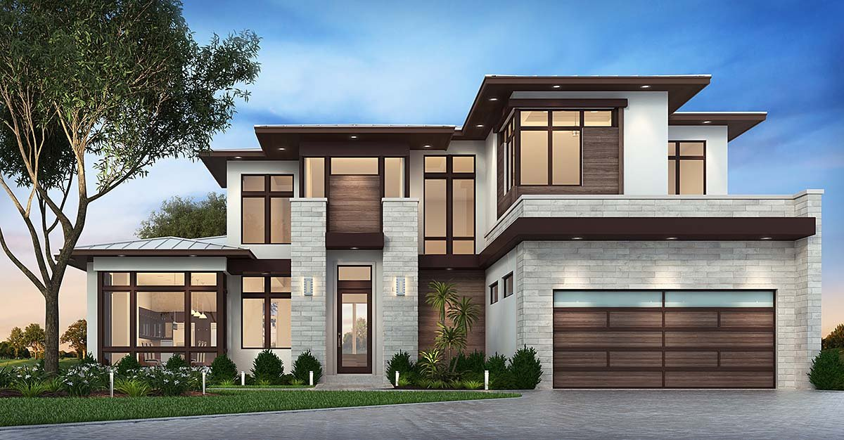 Contemporary, Florida, Modern House Plan 75977 with 3 Beds, 4 Baths, 3 Car Garage Elevation