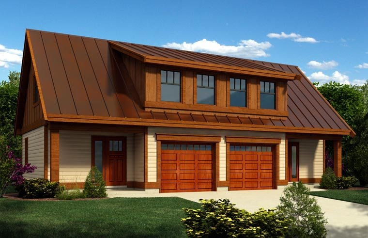 2 Car Garage Apartment Plan 76021 with 1 Beds, 1 Baths Elevation