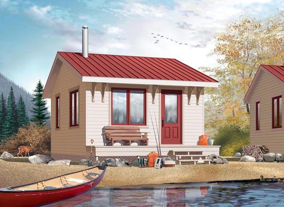 Cabin House Plan 76163 with 1 Beds, 1 Baths Elevation