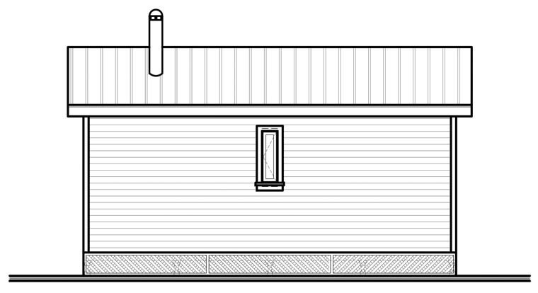 Cabin House Plan 76166 with 2 Beds, 1 Baths Rear Elevation