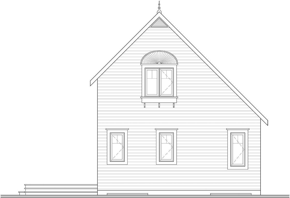 Country House Plan 76168 with 2 Beds, 2 Baths Rear Elevation