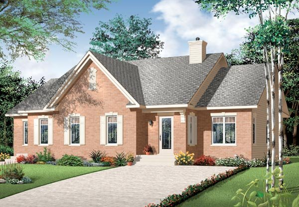 Bungalow, European, Ranch Multi-Family Plan 76172 with 3 Beds, 2 Baths Elevation