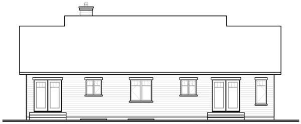 Bungalow, European, Ranch Multi-Family Plan 76172 with 3 Beds, 2 Baths Rear Elevation