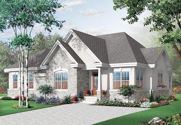 European House Plan 76174 with 3 Beds, 2 Baths Elevation