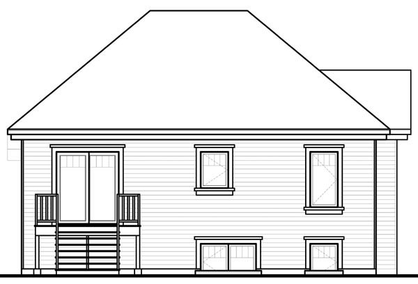 House Plan 76205 with 2 Beds, 1 Baths Rear Elevation