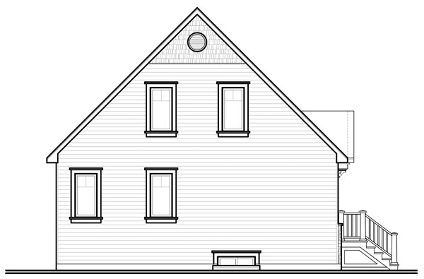 Country, Craftsman House Plan 76214 with 3 Beds, 2 Baths Rear Elevation