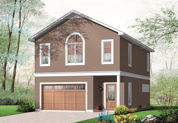 2 Car Garage Apartment Plan 76227 with 1 Beds, 1 Baths Elevation