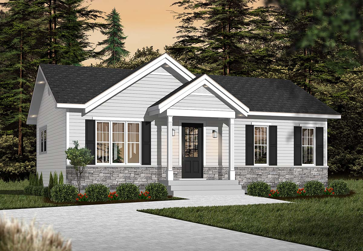 Cabin, Ranch, Traditional House Plan 76385 with 2 Beds, 1 Baths Elevation