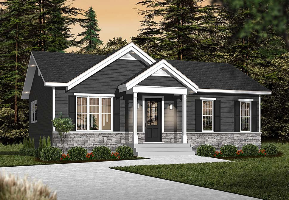 Cabin, Ranch, Traditional House Plan 76385 with 2 Beds, 1 Baths Picture 2