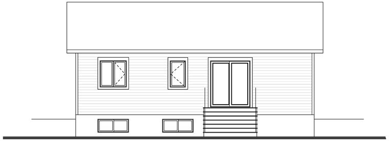 Cabin, Ranch, Traditional House Plan 76385 with 2 Beds, 1 Baths Rear Elevation