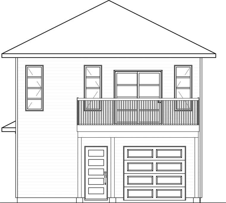 Contemporary, Cottage 1 Car Garage Apartment Plan 76395 with 1 Beds, 2 Baths Rear Elevation