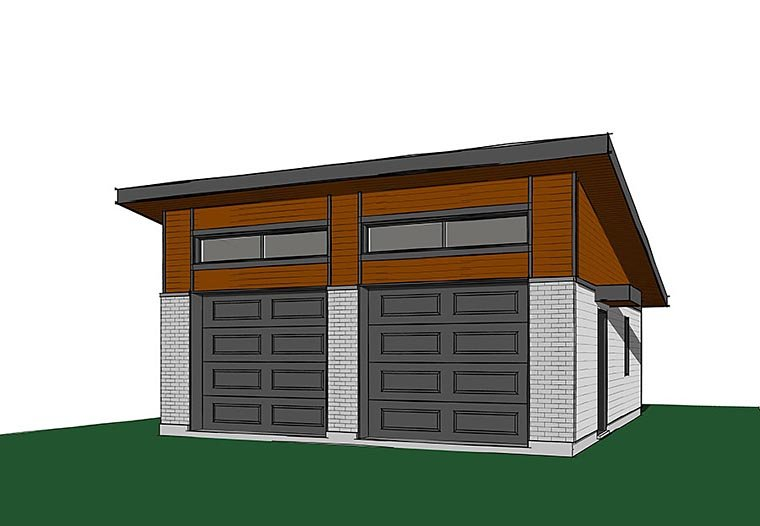 Contemporary, Modern 2 Car Garage Plan 76399 Elevation