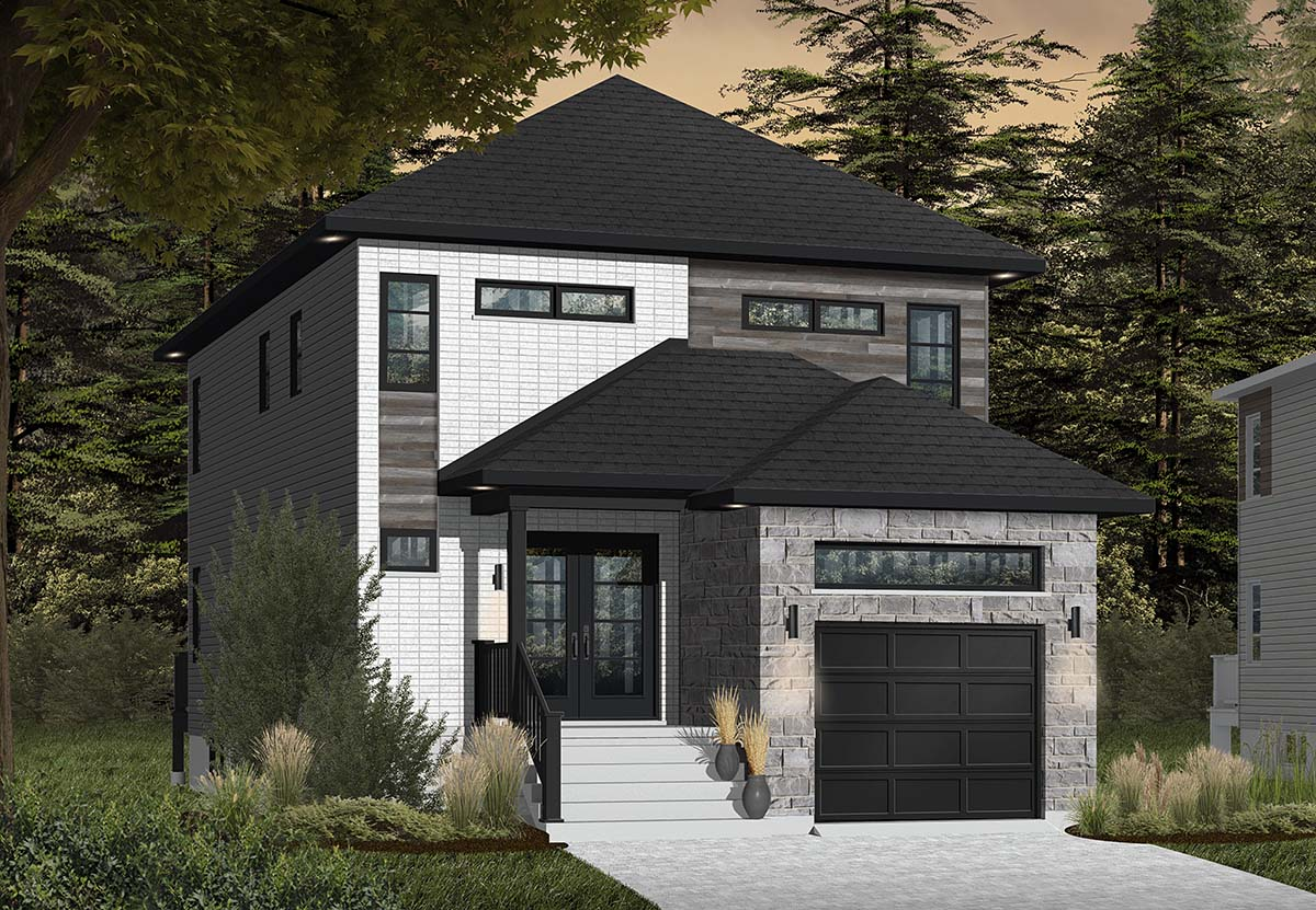 Contemporary, Modern House Plan 76412 with 3 Beds, 3 Baths, 1 Car Garage Picture 1