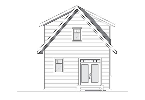 Cottage, Country, Craftsman, Tudor House Plan 76458 with 3 Beds, 2 Baths Rear Elevation