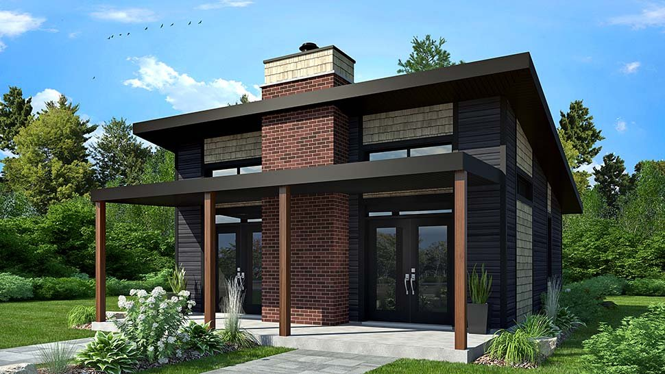 Contemporary, Modern House Plan 76474 with 2 Beds, 1 Baths Picture 2