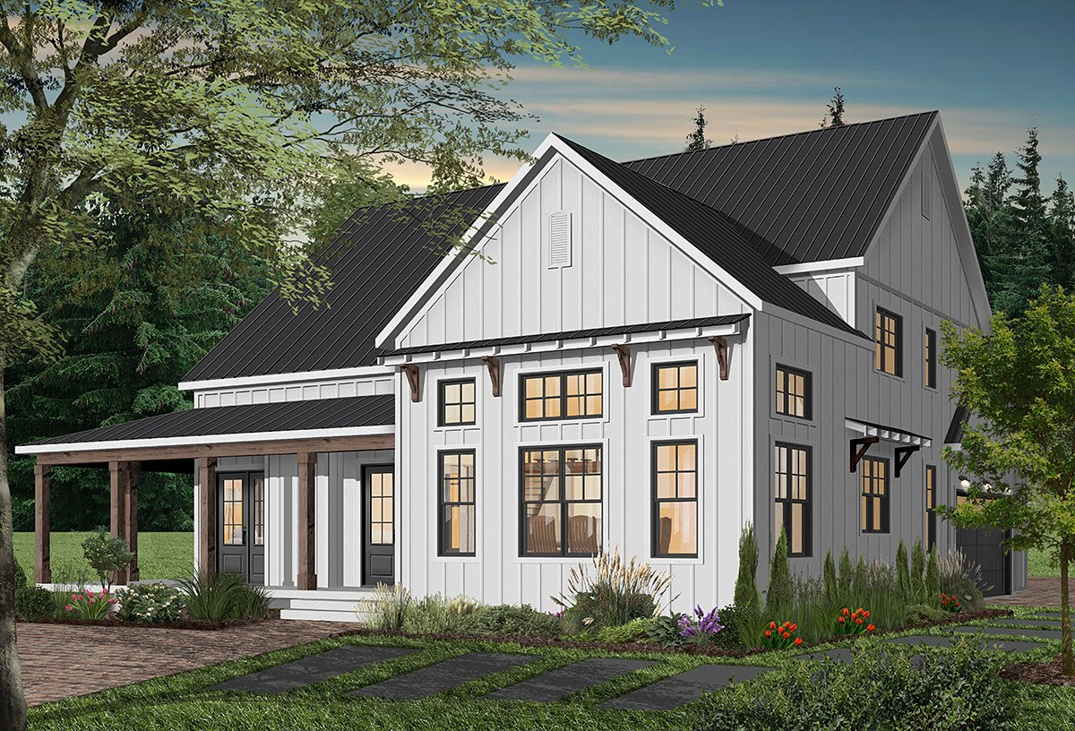 Cape Cod, Country, Craftsman, Farmhouse, Ranch House Plan 76521 with 4 Beds, 4 Baths, 3 Car Garage Rear Elevation