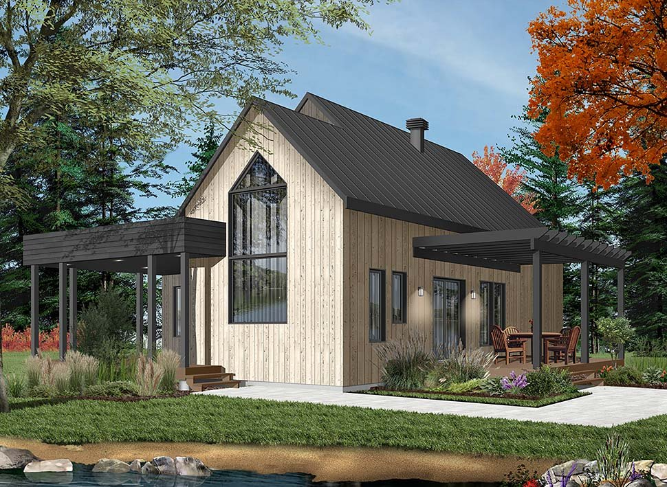 Contemporary, Cottage, Modern House Plan 76527 with 2 Beds, 1 Baths Picture 2
