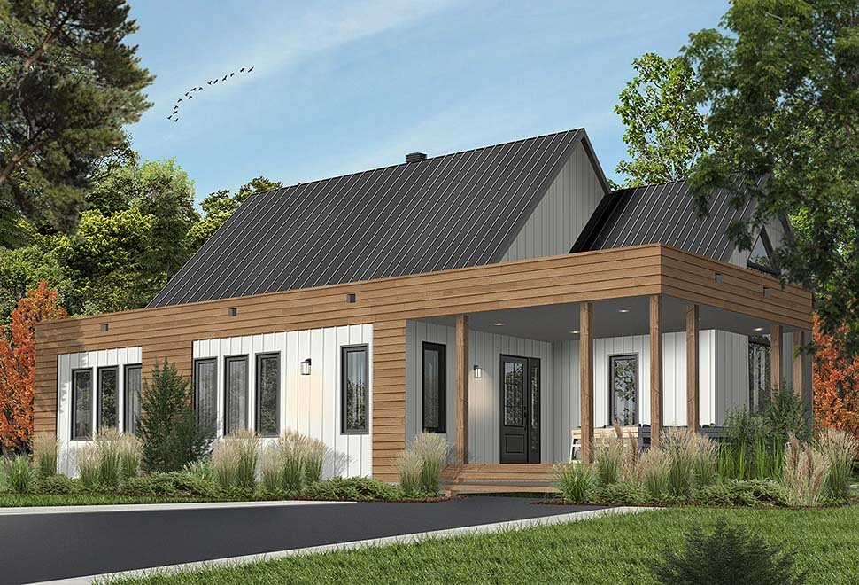 Contemporary, Cottage, Modern House Plan 76527 with 2 Beds, 1 Baths Picture 3