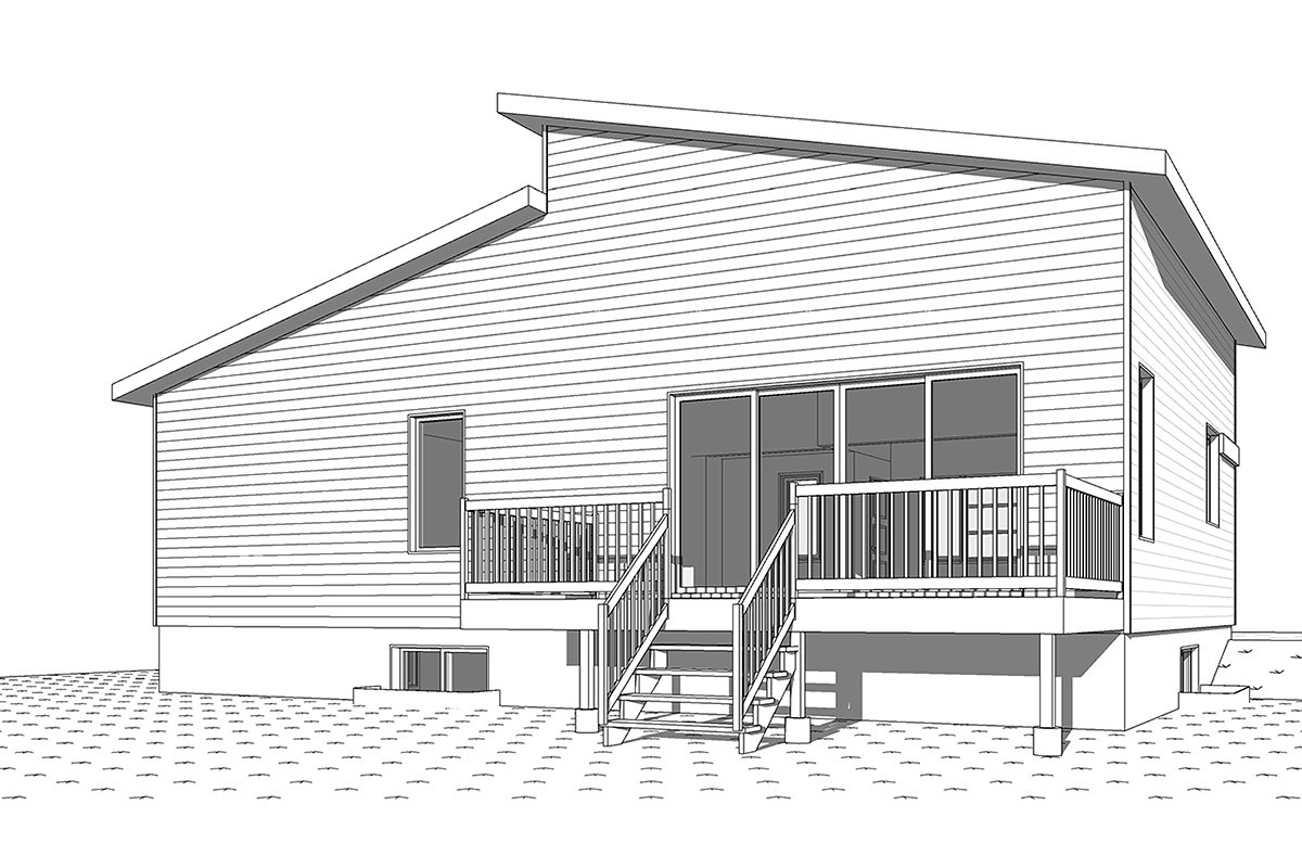 Contemporary, Modern House Plan 76543 with 1 Beds, 2 Baths Rear Elevation