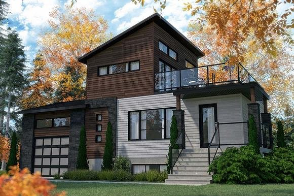 Cabin, Contemporary, Cottage, Modern House Plan 76547 with 2 Beds, 2 Baths, 1 Car Garage Elevation