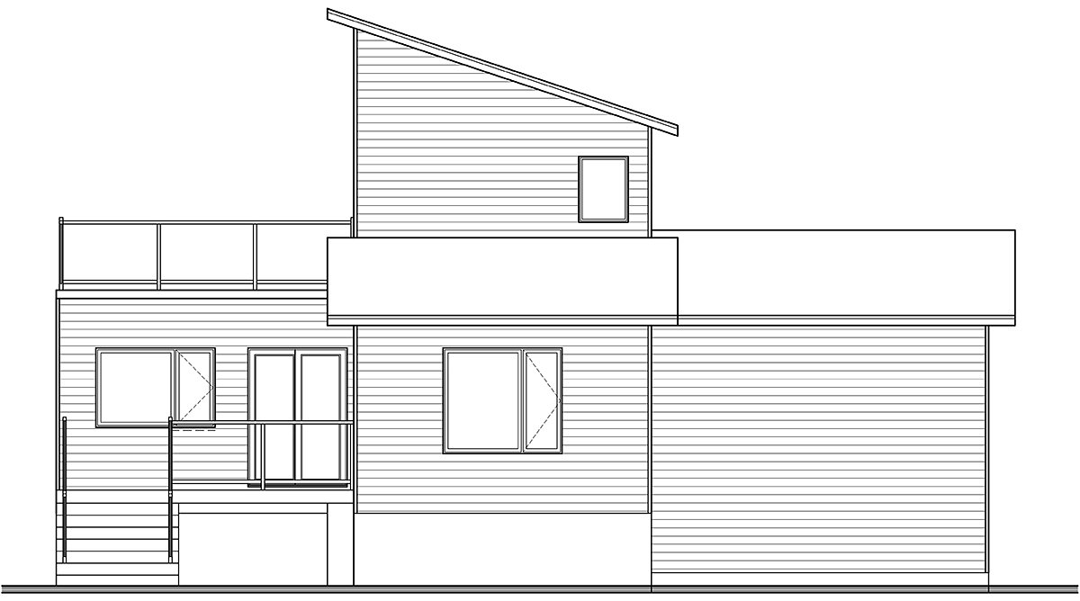 Cabin, Contemporary, Cottage, Modern House Plan 76547 with 2 Beds, 2 Baths, 1 Car Garage Rear Elevation