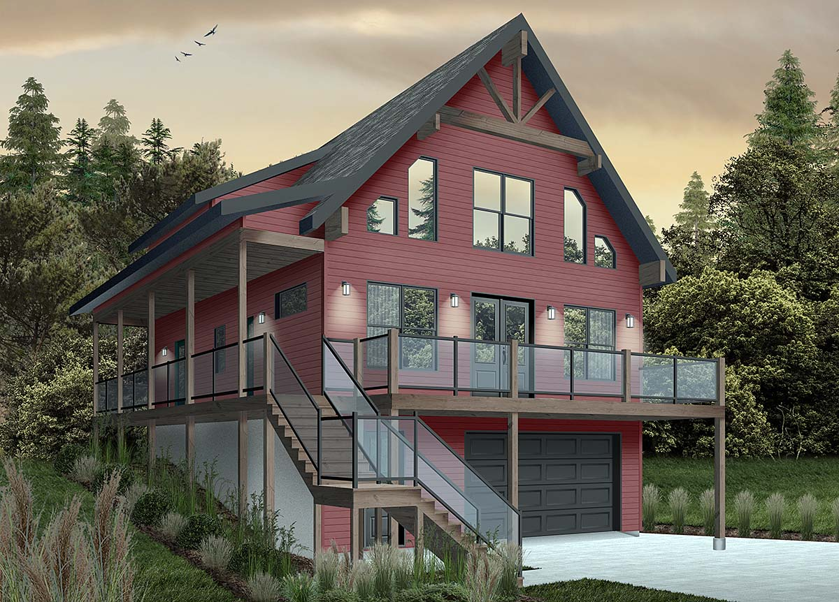 Cabin, Coastal, Country, Traditional House Plan 76550 with 4 Beds, 3 Baths, 1 Car Garage Elevation