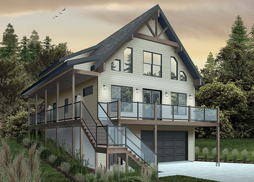 Cabin, Coastal, Country, Traditional House Plan 76550 with 4 Beds, 3 Baths, 1 Car Garage Picture 3