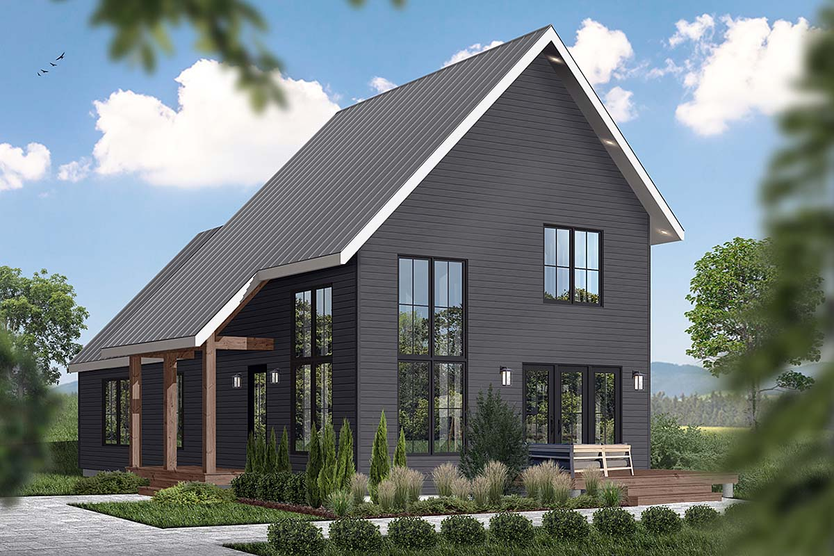 Cabin, Contemporary House Plan 76562 with 3 Beds, 3 Baths Elevation