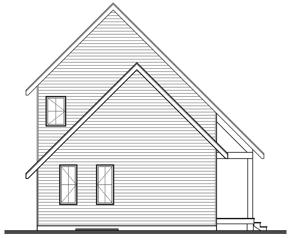 Cabin, Contemporary House Plan 76562 with 3 Beds, 3 Baths Rear Elevation