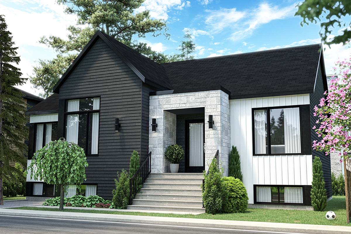 Contemporary, Modern House Plan 76567 with 3 Beds, 1 Baths Picture 1
