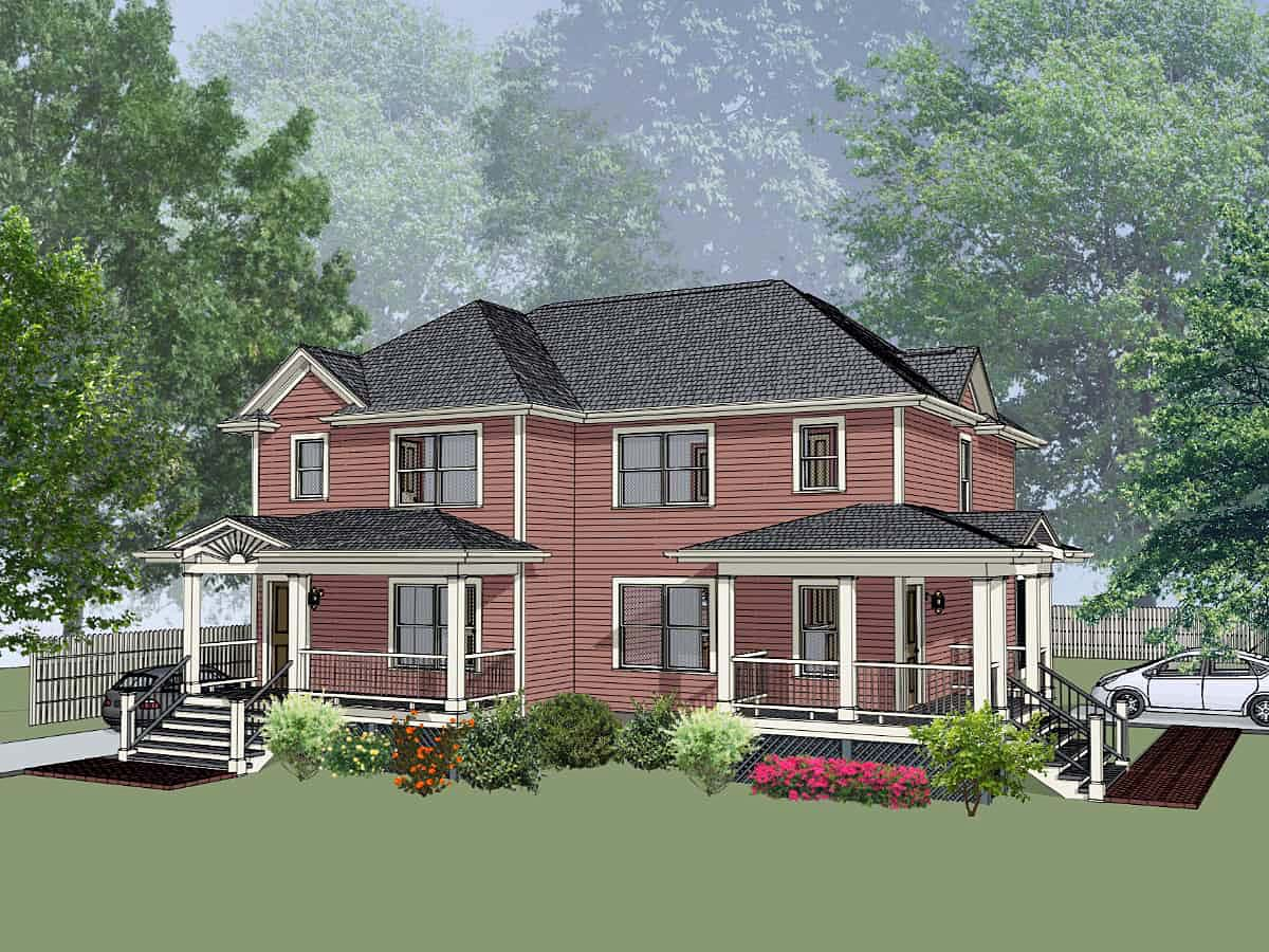 Bungalow Multi-Family Plan 76609 with 3 Beds, 2 Baths Elevation