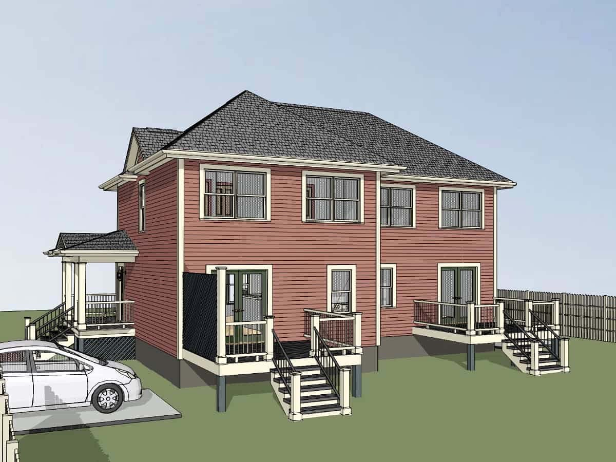 Bungalow Multi-Family Plan 76609 with 3 Beds, 2 Baths Picture 1