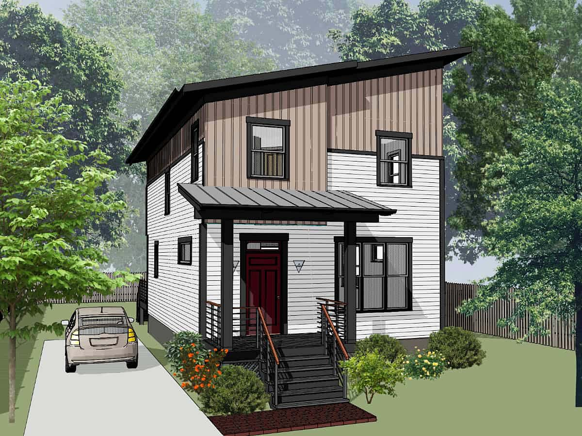 Contemporary House Plan 76614 with 3 Beds, 3 Baths Elevation