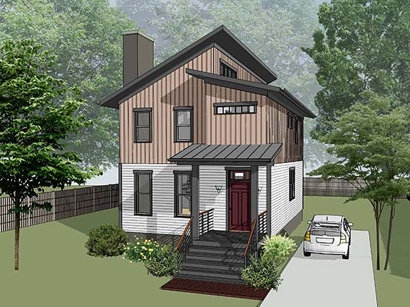 Contemporary House Plan 76615 with 3 Beds, 3 Baths Elevation
