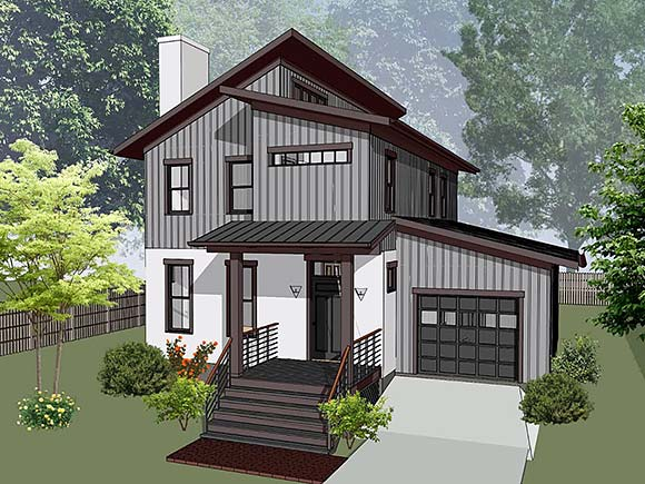 Contemporary House Plan 76616 with 3 Beds, 3 Baths, 1 Car Garage Elevation
