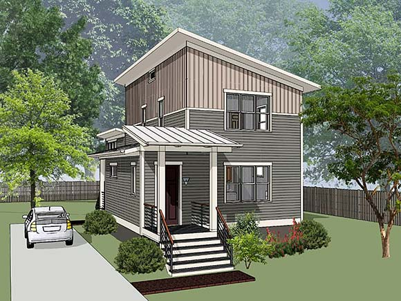 Contemporary House Plan 76618 with 3 Beds, 3 Baths Elevation