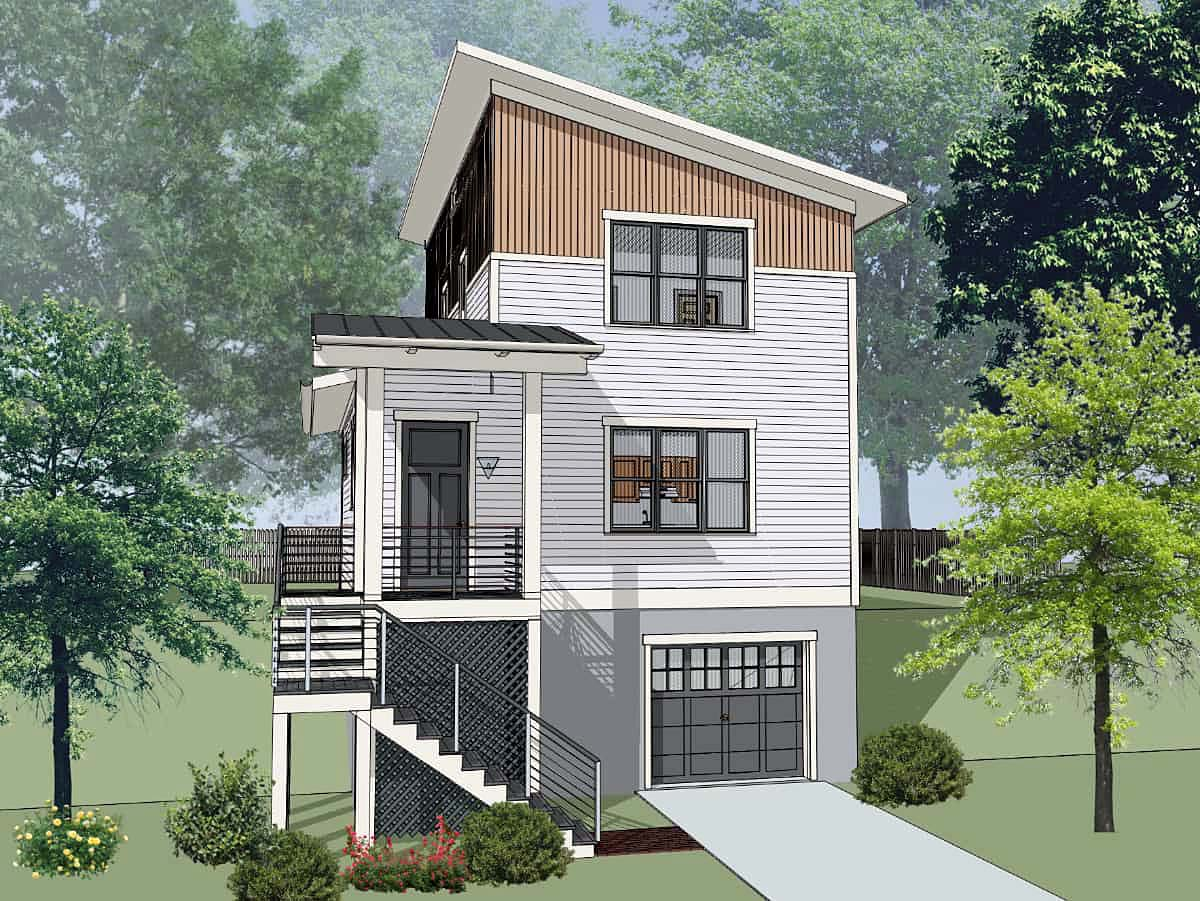 Contemporary, Modern House Plan 76619 with 3 Beds, 3 Baths, 1 Car Garage Elevation