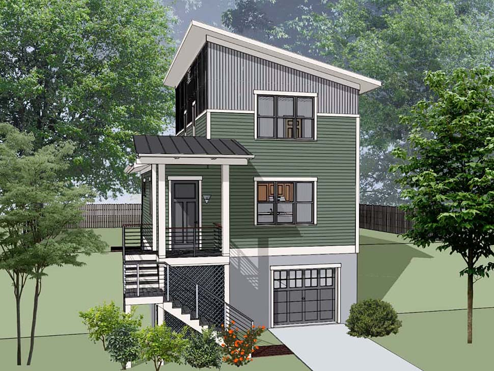 Contemporary, Modern House Plan 76619 with 3 Beds, 3 Baths, 1 Car Garage Picture 3