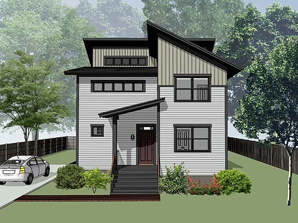 Contemporary, Modern House Plan 76620 with 3 Beds, 3 Baths Elevation